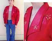 Red Club Kid Jacket w/ gold jewels & buttons