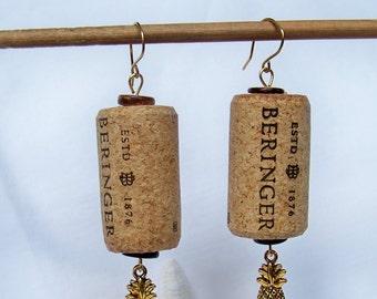 Summer Wine Corks, Beads & Charms Earrings/Pineapples/Beach Earrings/Recycled Corks/Metal Charms OOAK