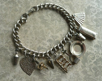 30% OFF Vintage Silver Multi Charm Bracelet - 1950s Vintage Charms - Harmonica, Fan, Heart, Ladder, Chair - Retro Charms