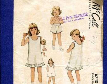 Vintage 1940's McCalls 6740 Mid Century Girl's Slip & Undies Pattern Size 4