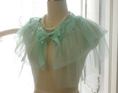 SALE - Soft Airy Mint Green Tulle Satin Bow Sheer Cape Poncho Top,Women's Lolita Clothing, Darling Beach Coverup Bolero Shwal Shrug Boho