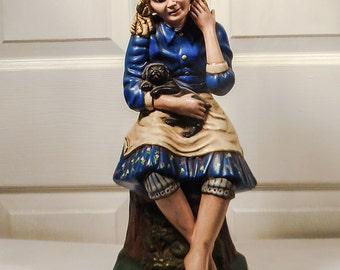 Barefoot Girl & Puppy LAMP Ceramic Hand Made Hand Painted