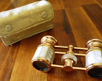 Mid Century Rose Gold-Tone Opera Glasses in Original Gold Fabric Case--Mother of Pearl Insets--GORGEOUS--Made in Japan--Adams 2.5X Lenses
