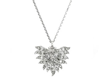 The Deco Plume Necklace - Antique Pave Diamond Necklace