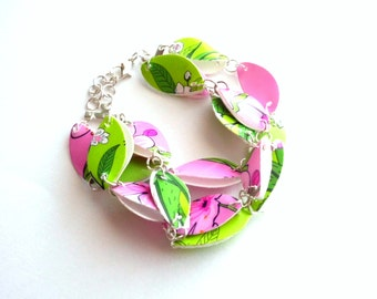 Pink and green jewelry floral bracelet made of recycled plastic eco friendly jewelry pink bracelet repurposed jewelry upcycled bracelet