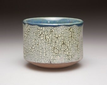 grey blue glazed and cracked surface ceramic  pottery bowl chawan