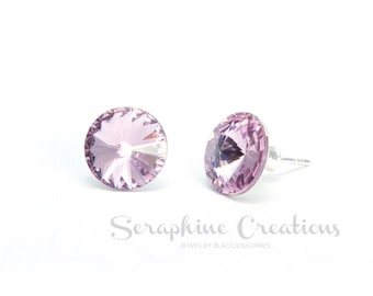 Light Amethyst Earrings Swarovski Rivoli Lavender Crystal Earrings Sparkly Bridal Bridesmaid Gift Bridal Bridesmaid Jewelry Violet K010