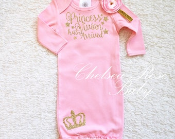 Pink and Gold Newborn baby gown, Baby girl coming home outfit, newborn girl outfit, baby shower gift, pink and gold baby girl outfit