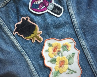 Pastel Yellow Flower Iron On Patch • Hand Embroidered Floral Applique • Embroidery Art