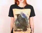 The raven crow vintage effect black tshirt