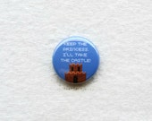 Keep the princess. I'll take the castle! - One Inch Pinback Button, Magnet Button, or Keychain. Colorful retro 8-bit gaming reference.