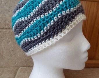 Crochet hat, crochet beanie, knit hat, knit beanie, waves, chevron, brainwaves, unisex, teal, gray, white