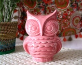 Midcentury Modern Ceramic Owl Planter From 1960s Vintage Mold, Bright Pink Owl - Handmade Mid Mod, vintage style - indoor or outdoor!