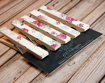 Pink Floral Clothespin Magnets, Set of 5