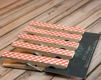 Orange Gingham Clothespin Magnets, Set of 5