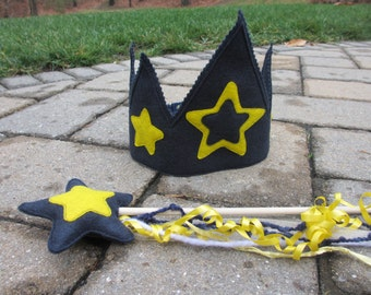 Felt Crown and Magic Wand Set: Blue and Gold Stars