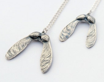 Silver Maple seed necklace - sterling silver cast samara