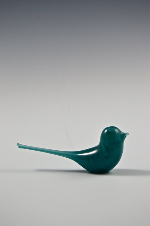 Tiny aqua glass bird midcentury modern modern bird decor for 2 little birds sat on my window