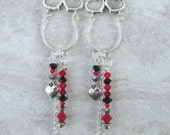 Handmade silver tone long earrings with heart charm holders, and black/red Swarovski crystals, ready to ship, Valentine's day, gifts for her