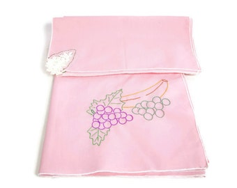 Vintage Pink Table Cloth Matching Napkins Cotton Linens Embroidered Fruit Design Luncheon Tablecloth Scarf Overlay