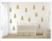 Pineapple Wall Decals Set of Pineapple Decals Vinyl Decal Wall Decals Pineapple Wall Decor Nursery Bedroom Decal Tropical Trendy Wall Decals
