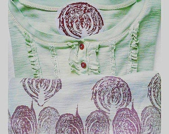 Cabbage Dyed Handprinted Long Sleeve Shirt