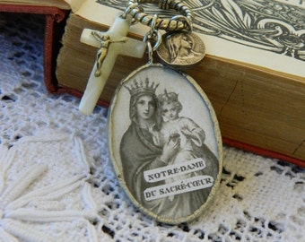NOTRE DAME SOLDERED pendant necklace vintage jewelry repurposed assemblage handmade mother pearl crucifix prayer holy card atelier paris