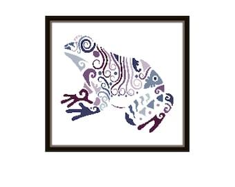 Frog Cross Stitch Pattern - Modern Cross Stitch Pattern - Origami Animal Cross Stitch Pattern - Geometric Animal Cro
