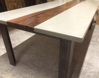 Custom Concrete Wood and Metal Tables