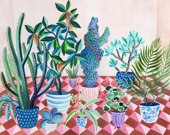 Pink tiled backyard  - illustration - giclee print