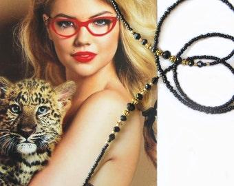 Eyewear holder, Black and gold, Glasses beaded chain, Reading glasses holder, Sunglasses chain, Eyeglass jewelry, Handmade