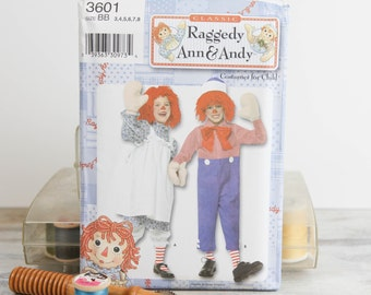 Toddler / Child Sizes 3 - 8, Raggedy Ann & Andy Costumes, Simplicity (3601) Sewing Pattern