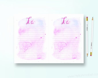 A5 To-Do List - Pink Watercolour - Printable Download