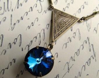 Art Nouveau Necklace Art Deco Necklace Gothic Necklace 1920s Necklace Navy Blue Necklace Crystal Pendant Brass Necklace- Bermuda Triangle