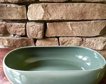 Russel Wright Vegetable Serving Bowl Cedar Green, American Modern Steubenville Pottery