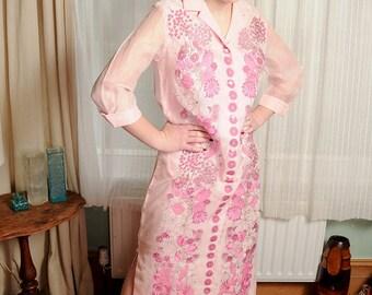 BEAUTIFUL Alfred Shaheen Vintage 70s Designer Pink Flower Maxi Dress Kaftan UK 12