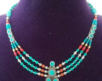 Gorgeous Nepalese Turquoise Coral Three Layer Necklace