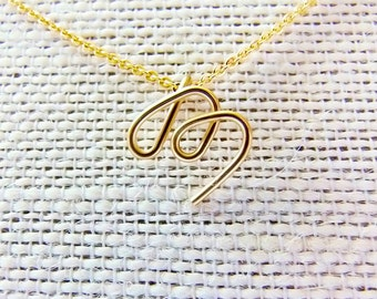 Letter M Necklace, Gold Initial Necklace, Cursive Letter Necklace, Letter Necklace, Initial Necklace