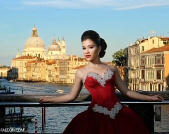 Crimson Royalty Ball Gown Dress - Corset and Skirt