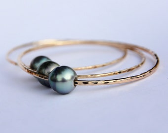 AA Tahitian Pearl 14K Gold-Filled Bangle