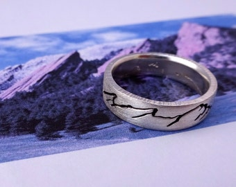 Flatirons Mountain Ring, 6mm Band, Custom Landscape Mountain Ring, Handcrafted recycled, Silver, Gold, Palladium & Platinum, Colorado Ring