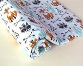 Baby Blanket, Southwest Baby Blanket with Aqua Minky