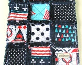 Baby Rag Quilt, Ahoy Matey Rag Quilt with Navy Minky