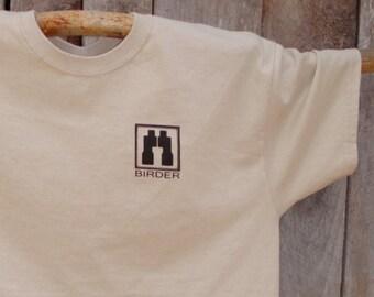 Birder's Bins Shirt, Sand, Birding tee, BIRD NIRD design, Binoculars, birder tee, birdwatchers, Bird lover, nature, birding shirt