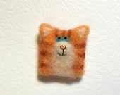 Cat Brooch - Orange Cat Pin - Needle Felted Cat Brooch - Wool Animal - by Marina Lubomirsky
