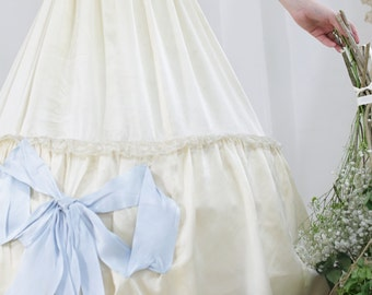 Edwardian Silk Blue Bow Lace Petticoat Skirt. // Bridal Half Slip. Hoop. Crinoline. // 1900s wedding skirt trousseau lingerie