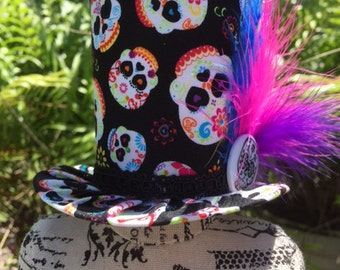 Day of the Dead Inspired Mad Hatter Mini Top Hat for Dress Up, Birthday, Tea Party or Photo Prop