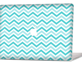 "Apple Macbook Air 11"" 13"" Decal Skin Cover and Apple Macbook Pro Retina 12"" 13"" 15"" Decal Skin Cover - Blue Chevron Pattern"