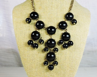Vintage Black Beaded Dangle Necklace
