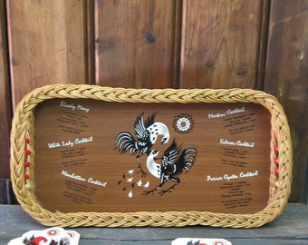 Vintage Wicker Rooster Bar Tray with Coasters